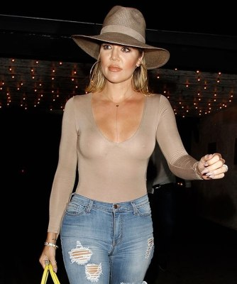 khloe kardashian nipples beige shirt splash